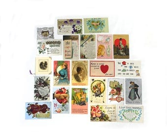 Antique Victorian Valentines Day postcard collection, Vintage Valentine cards, 1900s sweetheart cards
