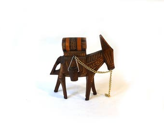 Vintage 1960s rustic carved wood donkey, mexico souvenir