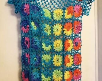 Crochet hippie boho summer dress multicolour flowers dress  beach dress