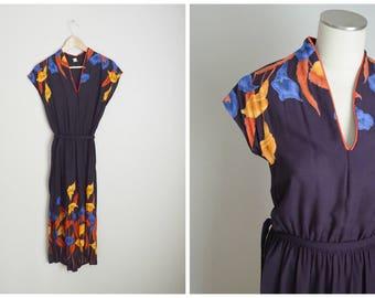 vintage 70s purple orange blue floral summer dress -- women small--36-26-free