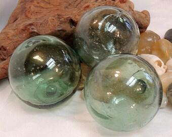 3 Unique Vintage Japanese GLASS FISHING FLOATS Bubbles & Color Variations (#20)