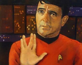 "Star Trek Painting James Doohan as Scotty in Original 1960s Star Trek tv series Scotty 8x10"" framed portrait"