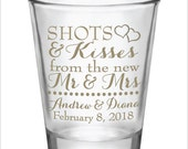Wedding Favors Shot Glasses 1.5oz Glass Shot Glasses Shots and Kisses from the new Mr. & Mrs. Custom Personalized 2017 Wedding Favor Ideas