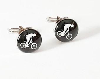 BMX Bike BMXr Bicycle Cufflinks Silver Plated Bike Cuff links Groomsmen Wedding Accessories - CLVNTG01