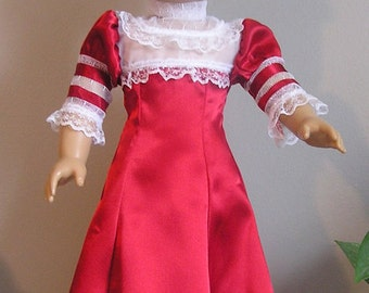 Red Charmeuse Satin 1904 Bolero Style Dress for 18 Inch or AG Doll