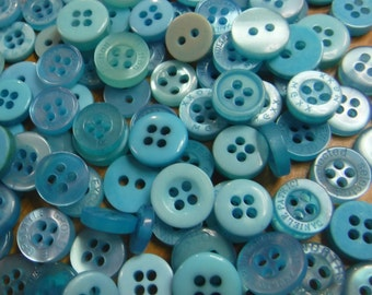 Spa Blue Buttons, 50 Small Assorted Round Sewing Crafting Bulk Buttons