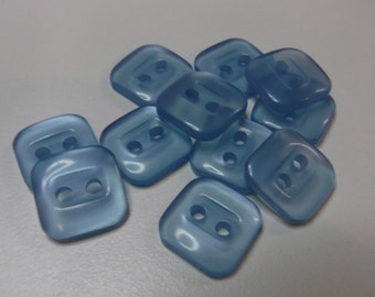 11 Light Blue Transparent Square Buttons Size 3/8""