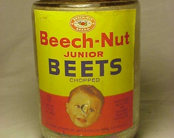 c1950s Beech Nut Junior Beets Beech Nut Life Savers Inc Canajoharie, N.Y. ,  Baby Food Jar with the original paper label