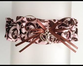 LAST ONE - Elegant Pink And Brown Damask Satin Wedding Keepsake Bridal Garter - Charm Garter - Double Heart Garters