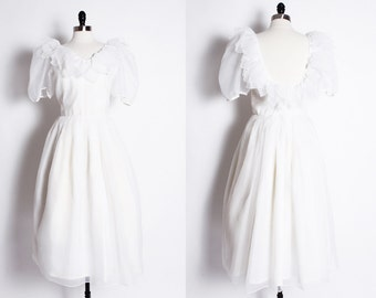 vintage 50s 60s white wedding dress / tea length wedding dress / white party dress / flower girl dress
