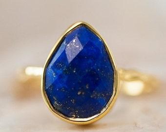 SALE - Blue Lapis Lazuli Ring Gold - September Birthstone Ring - Solitaire Gemstone Ring - Stacking Ring - Gold Ring - Tear Drop Ring