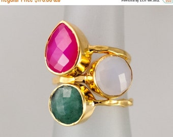 40 OFF - Size 5 - Gemstone Statement Ring - Stacking Ring - Stackable Rings - Birthstone Ring-  Bezel Rings - Gold Ring -