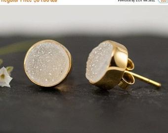 40 OFF - Druzy Stud Earrings - April Birthstone Studs - Gemstone Studs - Round Studs - Gold Stud Earrings - Post Earrings