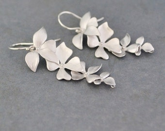 Elongated Wild Orchid Silver Earrings, Sterling Silver Hoops, Gift Under 30