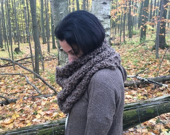 Chunky Infinity Knit Scarf Cowl -Taupe - The Cider Cowl -