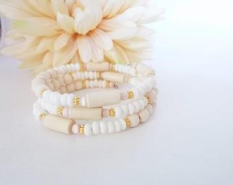 White Wood Bracelet, Memory Wire Bracelet, Boho Jewelry Wrap Bracelet, Ivory Beaded Bracelet, Wood Beaded Bracelet, Birthday Gift for Sister