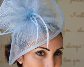 "Light Blue Fascinator - ""Victoria"" Twist Mesh Fascinator Hat Headband with light blue Flighty Feathers"