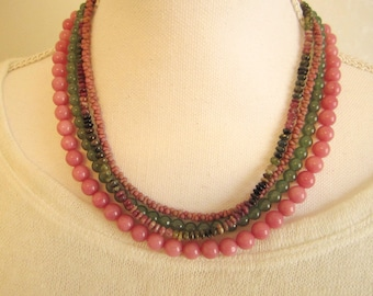 Shop Closing coupon Sale, Watermelon Tourmaline Multi Strand Necklace, Detachable, Interchangeable, Rose and Green Necklace, Gemstone
