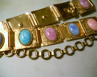 Gold Belt with Embossed Squares and Multi-color Marbled Cabochons in Green, Blue, Mauve and Tan ~ Gypsy Retro Hippie Western Treasure