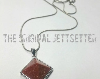 Goldstone Necklace - Silver Necklace - Goldstone Pendant Necklace