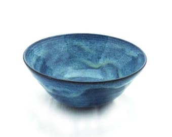 Blue Ceramic Bowl, Serving Bowl, Place Setting, Salad Bowl, Soup Bowl, Terra Cotta Ceramic Bowl with Blue Glaze, Ceramic Serving Bowl