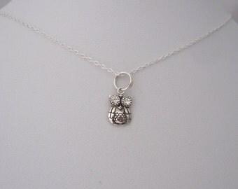 Small OWL BIRD with CZ eyes sterling silver charm with necklace chain, woodland jewelry, birds jewelry