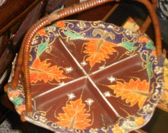Chinoiserie antique Satsuma moriage bamboo handled serving plate