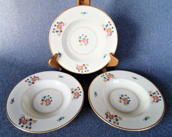 3 Rimmed Soup Salad Bowls Old Ivory Coventry Pattern Syracuse China BEAUTIFUL CONDITION