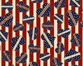 Quilting Treasures. Be Strong Be Brave. Hearts Red - By the yard - Choose your cut of fabric