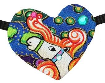 Heart Eye Patch Wild Horses Bright Rainbow Steampunk Fantasy Fashion Colorful