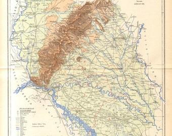 1897 Original Antique Dated Map of Pozsony County, Austro-Hungarian Empire