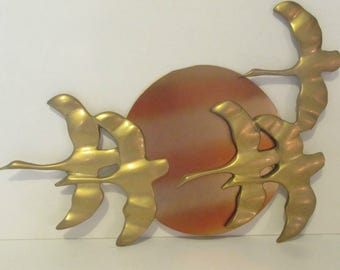 Mid Century Brass Wall Plaque Geese & Sun Wall Hanging