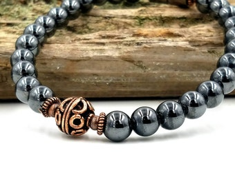Practical Magnetic Bracelet || Therapy Strength || Pure Copper & Black Hematite || Super High Power || Wellness || Health || FREE gift card