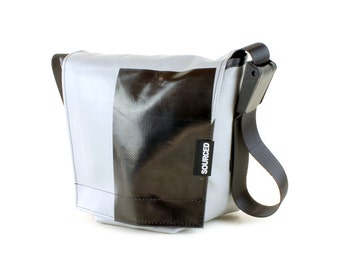 Small Messenger Bag, Small Laptop or Tablet Bag, Waterproof Shoulder Bag made from recycled Truck Tarp, Eco Friendly Travel Bag (33.11)