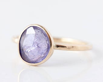Rose cut Tanzanite 14k gold ring, tanzanite engagement ring, birthstone ring, december birthstone, custom, asymmetrical, solitaire, blue