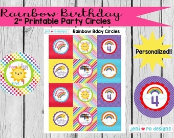 "Rainbow Birthday -  2"" Printable Party Circles - Personalized!"