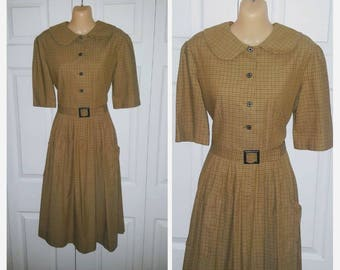 Peggy .. Vintage 50s day dress / 1950s shirtwaist / peter pan collar belted / office secretary schoolgirl plaid ... M L / bust 38