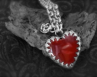 The Tin Mans Heart-Mookaite set in Embossed Sterling Silver w. Skull