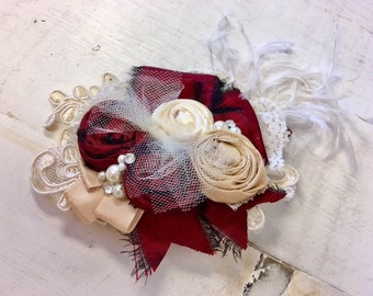 Burgundy, Gold  & Ivory lace rosette headband/ hairclip