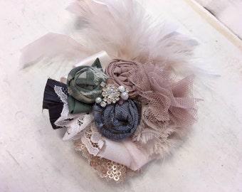 Dusty Blue, Rosy Blush & Sage rosette headband/ hairclip