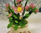 French Seed Bead Flowers in Crown Ducal Small Pot,French Seed Bead Flower Arrangement