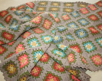 Vintage Hand Crocheted Afghan Granny Squares Very Long Excellent Condition Multi Colored Flowers BoHo Shabby Cottage Chic