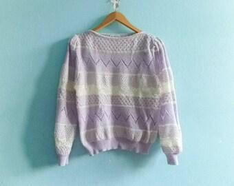 Vintage Sweater Top Jumper / Crochet Crocheted / Loose Knit Open Knit / Pastel Violet White /