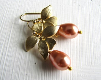 Pearl Earrings Flower Earrings Pearl Drop Earrings Orchid Earrings Silver Earrings Bridal Jewelry Bridesmaids Wedding Jewelry Gold Earrings