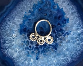 Triple Threat Sterling Silver Septum Ring