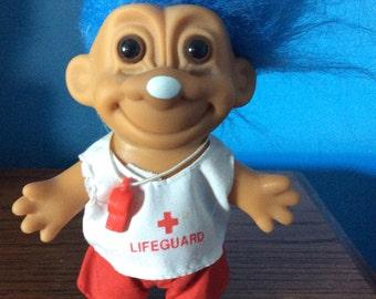 Lifeguard troll doll, Russ troll vintage, blue  hair, original  Troll doll red white lifeguard clothes original