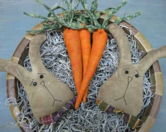 Primitive Easter Bunnies with Carrots Bowl Filler - 2 Bunny Heads & 3 Carrots - Fabric - Spring Decor - Primitive Easter Centerpiece