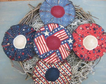 Primitive Americana Flower Bowl Fillers - July 4th - Patriotic  Fabric Grungy - Set of 5 - Country Home Decor - Spring/Summer Flowers Decor