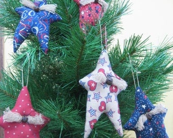 Primitive Hanging Americana Stars - Set of 5 Fabric Star Ornies - Primitive July 4th Decor - Patriotic Hanging Star Ornaments