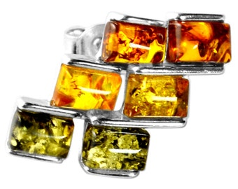 Simple Beauty,  Small and Cute Baltic Amber Stud Earrings, 925 Silver, Three different Shades